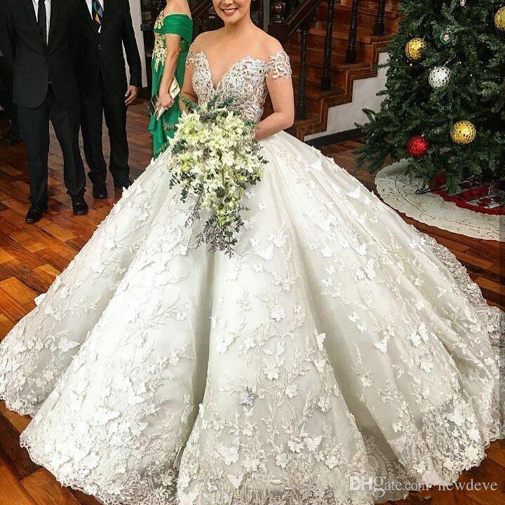 Sheer Jewel Neckline Wedding Dresses Beading Blings Ball Gown Saudi Arabic Bridal Dress Luxury Lace Appliques Custom Made