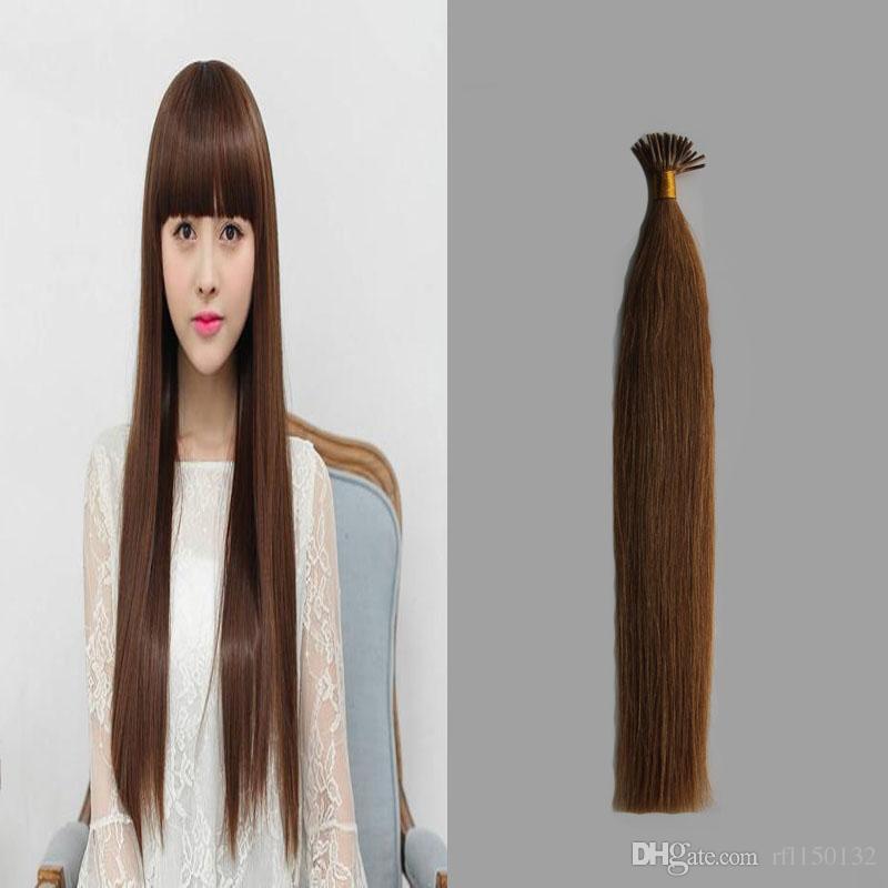 10 28 Virgin Brazilian Straight Fusion Keratin Hair Extension 100g I