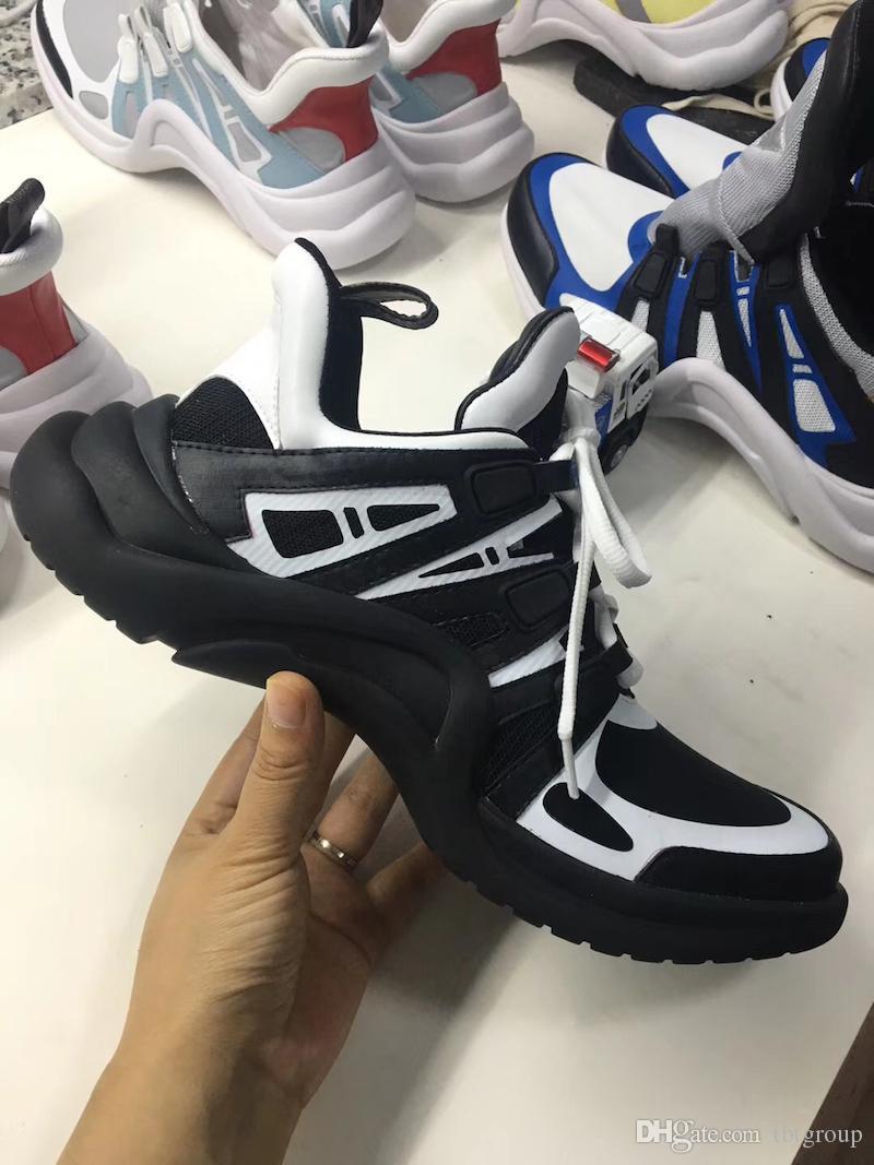 2018 NOUVEAU luxe femmes Archlight sneaker Hommes Véritable En Cuir Baskets TPU Outsole Casual Chaussures Runner Chaussures 7 couleurs