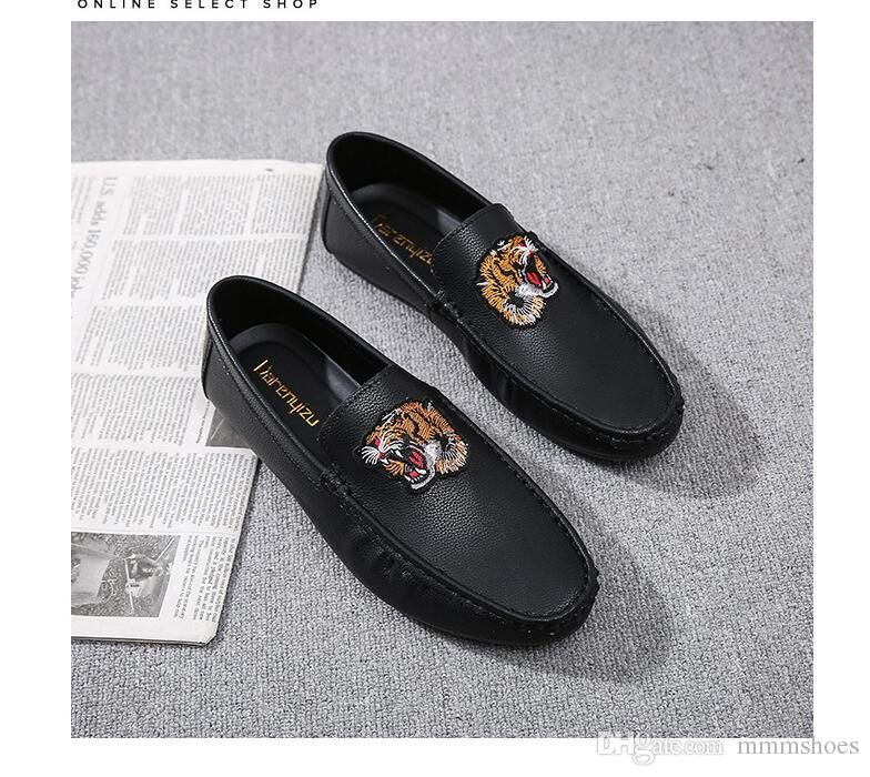 b7079cb83 Summer Shoes Pu Leather Shoes Men Flats Pu Luxury Wedding Party Business  Tiger Head Embroidery Hip Hop Casual Sneakers Mens Sandals Dress Shoes From  ...