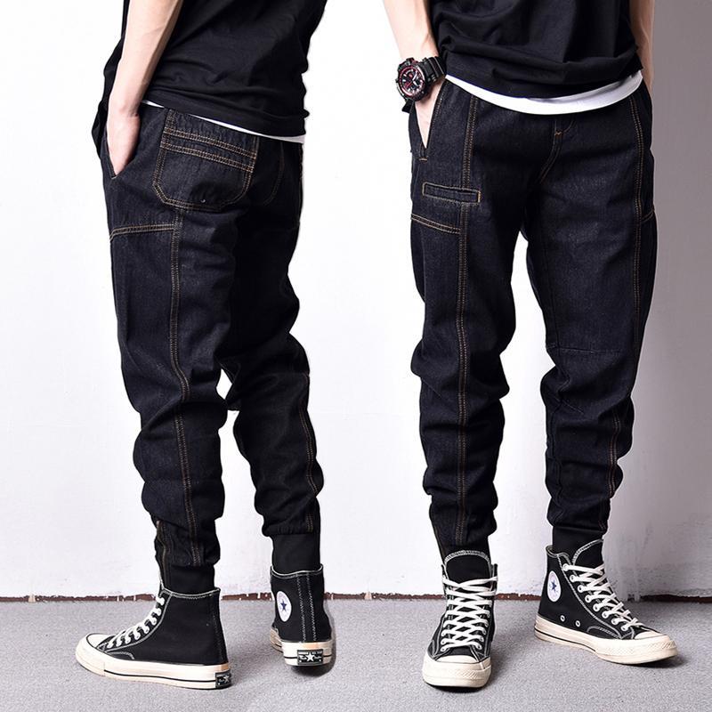 Compre Estilo Japonés Moda Hombre Jeans Loose Fit Ankle Banded Jogger  Pantalones Hombres Vintage Cargo Pantalones High Street Hip Hop Jeans Homme  A  57.41 ... 93e169d59f7