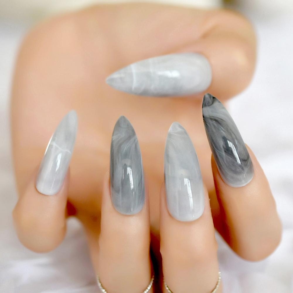 Extra Long Stiletto Grey Marble Fake Nails Stone Pattern Pointed ...