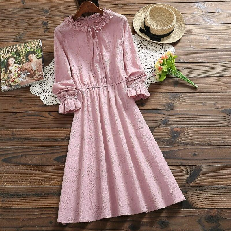 Japanese Mori Girl Dress 2019 New Fashion Spring Women Long Sleeve Cotton and Linen Vintage Dresses Solid Color