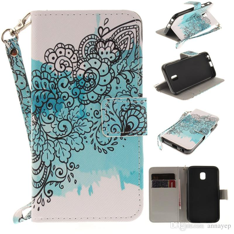 For Samsung Galaxy Core Grand prime G530 G360 J5 Note4 5 S6 S7 Edge S5 I9600 PU Leather Stand Wallet Phone Case with Rope Card Slots Cover