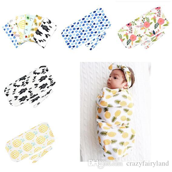 Pineapple Wrap Baby Swaddle Blankets Headband Set Photography Prop
