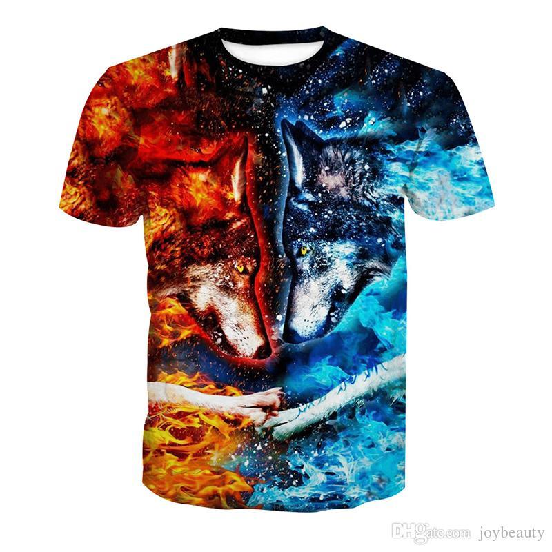 556ab8023 Men T Shirt Ice Fire Wolf 3D Full Print Man Casual Tops Unisex Short  Sleeves Digital Graphic Tee Shirt Tees T Shirts Blouse RLT 2940 Find A Shirt  Shirts T ...