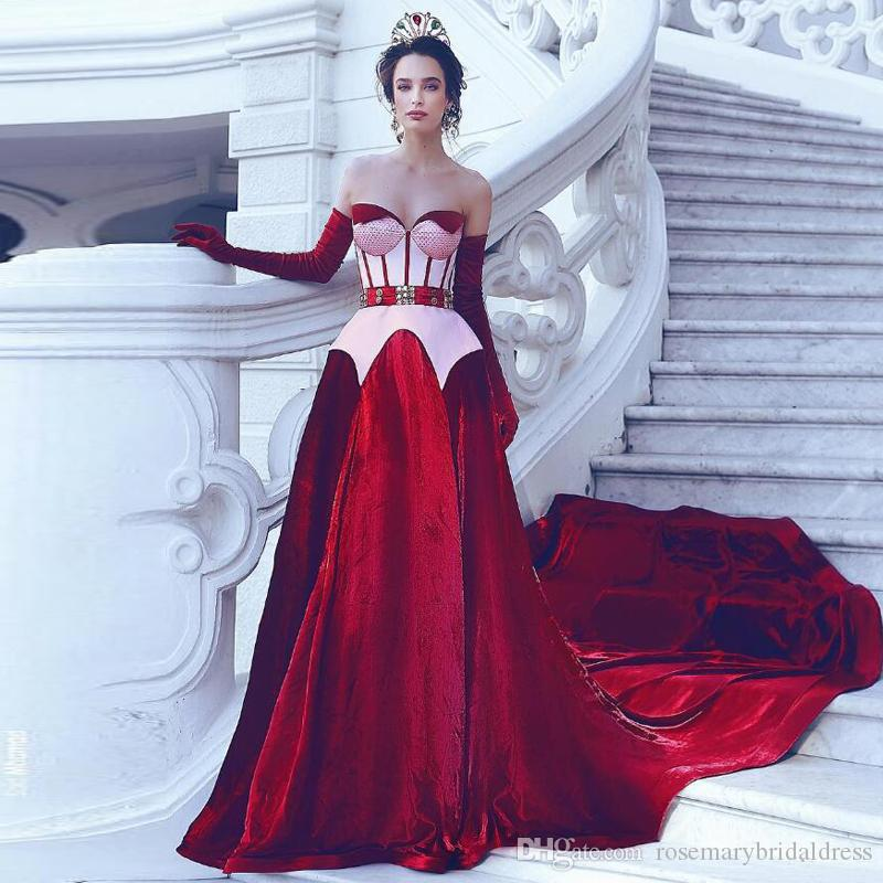 974677a87a77 Sweetheart A Line Evening Dresses Velvet Burgundy Eye Catching Cut Gorgeous  Princess Formal Gowns Sweep Train Dubai Lady Prom Dresses Evening Dresses  For ...