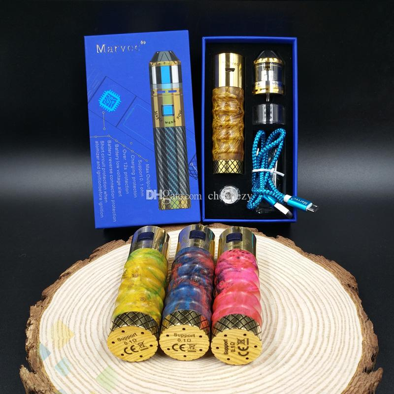 Original Marvec Magic Wand 90W Vape Kit with Stable wood Sleeve Fit 18650 Battery Electronic Cigarette DHL Free