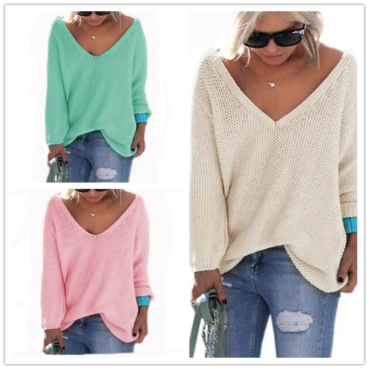 Winter Autumn V Neck Pullover Knit Solid Color Sweater For Women Oversized  Knitwear Loose Casual Jumpers Long Sleeve T Shirts Outwear NEW Baby Boy  Knitted ... 9c8510d01