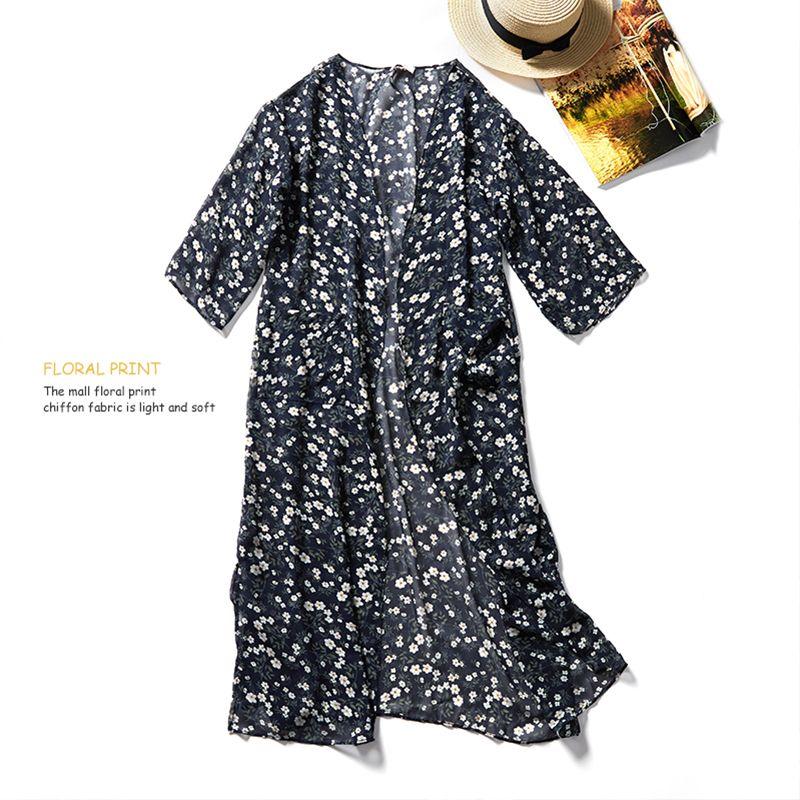32e0a1f892 2019 Boho Kimono Cardigan 2018 Women Summer Floral Print Chiffon Shirts  Casual Loose Blouses Beach Vintage Long Tops Blusas Feminina From Baiqian