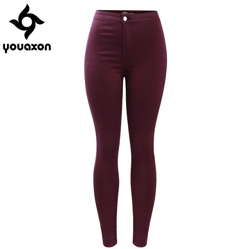 c227cffbaa3 Acheter 2035 Youaxon Femmes Livraison Gratuite Bourgogne Élastique Denim  Jean Pantalon Pantalon Skinny Crayon Taille Haute Femme Jeans Femme  D1892003 De ...
