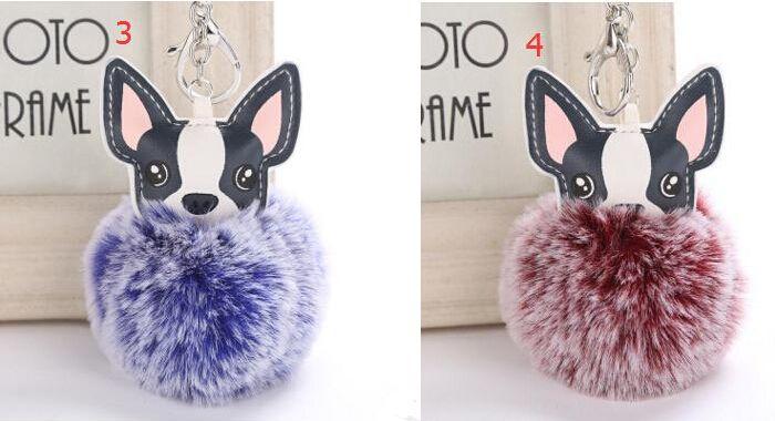 12 ألوان 8 سنتيمتر الكلب الفراء الكرة مفتاح سلسلة pu جرو الفراء الكرة المفاتيح النساء pompom الكرة كيرينغ سيارة قلادة حقيبة سحر المجوهرات