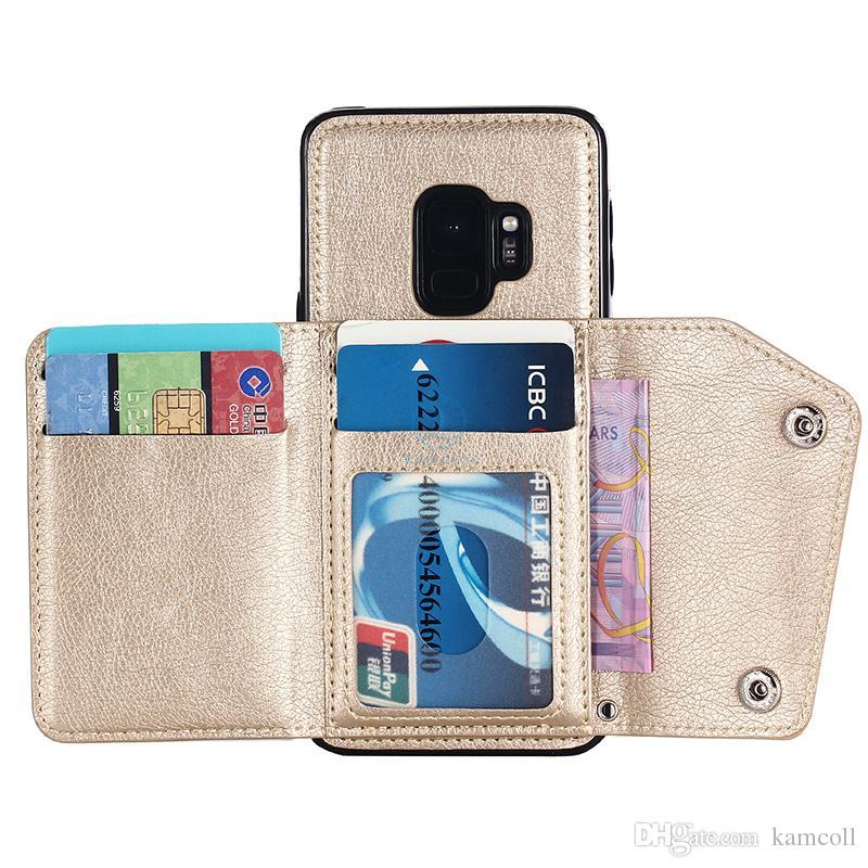 Cartera Funda de cuero PU para iPhone 8 7 6 6S Plus Cartera de la contraportada con ranuras para tarjeta de bolsillo lateral para Samsung note8 S8