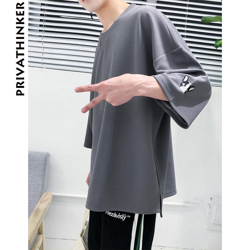 Mens T Shirt Oversized Three Quarter Sleeve T Shirts Korean Male