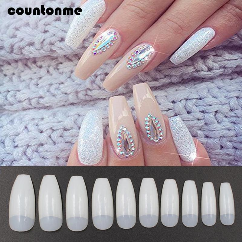 Fake Nails Nail Tips False Nail Art Design Natural Long Ballerina