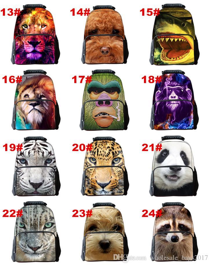 29 stilleri Hayvanlar 3D Baskı Sırt Çantaları Renkli Aslan Çocuk Çocuklar için Okul Çantaları Öğrencileri Bookbags Sırt Çantaları erkek kız