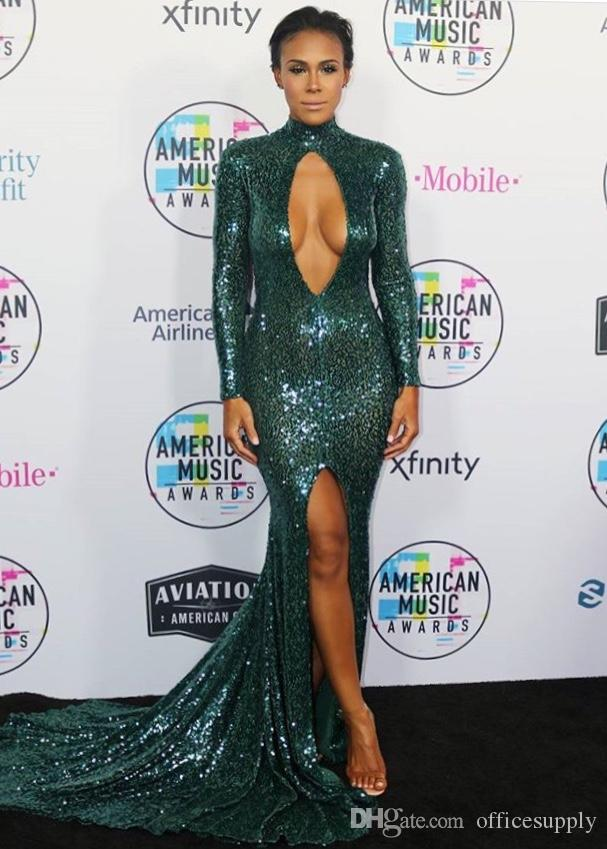 Sexy Dark Green Sequin Evening Dresses 2018 High Neck Backless Split Prom Dresses Long Sleeves Tank Party Dresses Slit To The Thigh