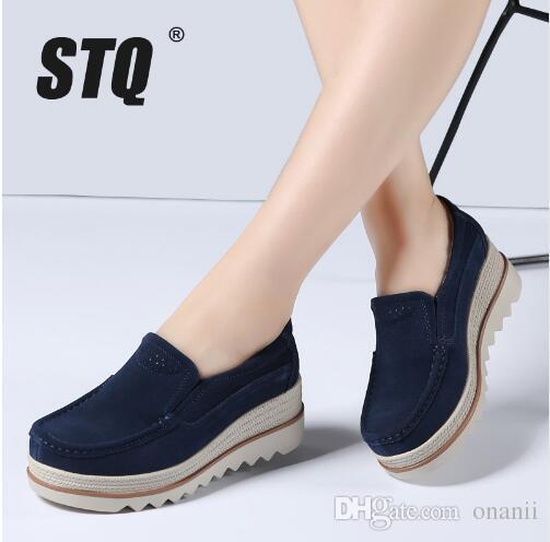 De En Pisos Zapatos Planos Primavera Stq Resbalón Plataforma Mujer Talones 2018 Casuales Enredaderas Gamuza Cuero Nk0PXw8nO