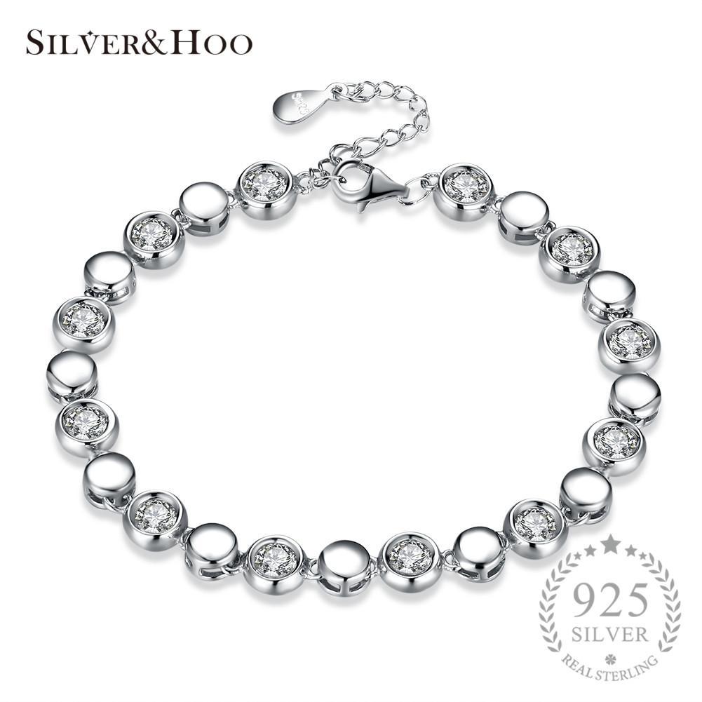 cf6fbf4d28cc3 SILVERHOO 925 Sterling Silver Bracelets Elegant Simple Design Round Cut  Cubic Zircon Bracelet Charming Bangle for Women Wedding