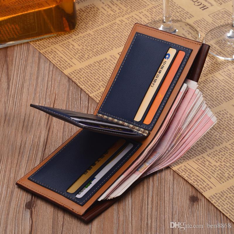 Новая мода короткие мужские кошельки искусственная кожа двойные мужские кошельки большой емкости банковские карты держатель бизнес кошелек личность кошелек 1 шт.