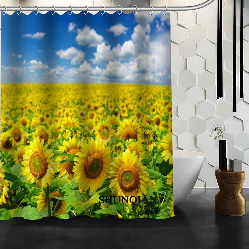 2017 New Arrival Custom Sunflowers Shower Curtain Bathroom Accessories Polyester Fabric With Holes UK 2019 From Caley 4448