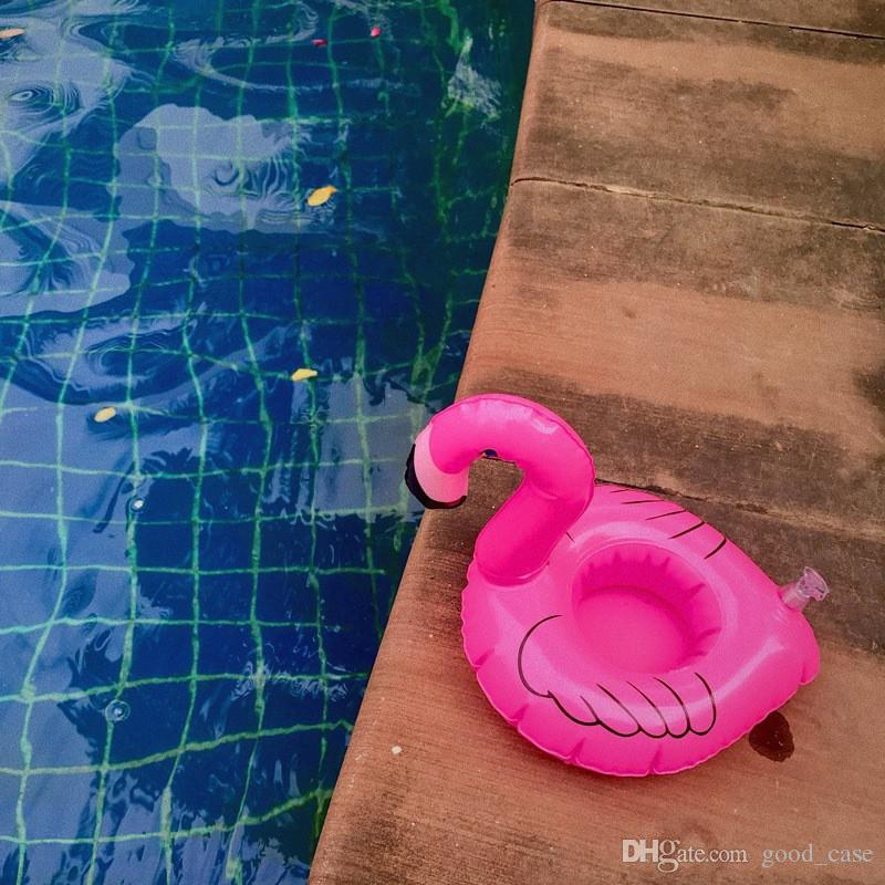 INS PVC Inflatable Flamingo Drinks Cup Holder Pool cartoon Floats Floating Drink cup stand ring Bar Coasters Children bath toy swimming 2018
