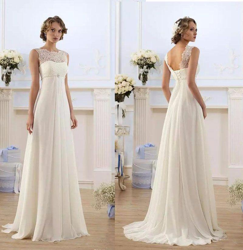 53f684a553 2018 Chiffon Wedding Dresses A-Line Long Lace Appliques Floor Length ...