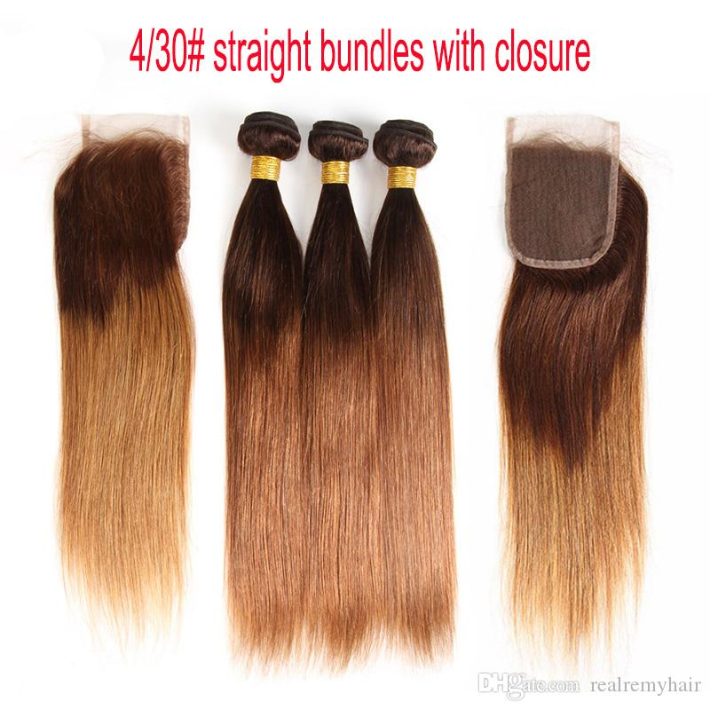 Ombre Brazilian Straight Virgin Hair Bundles With Lace Closure 4/30# Two Tone Dark Brown Honey Blonde Human Hair Weaves And Closure