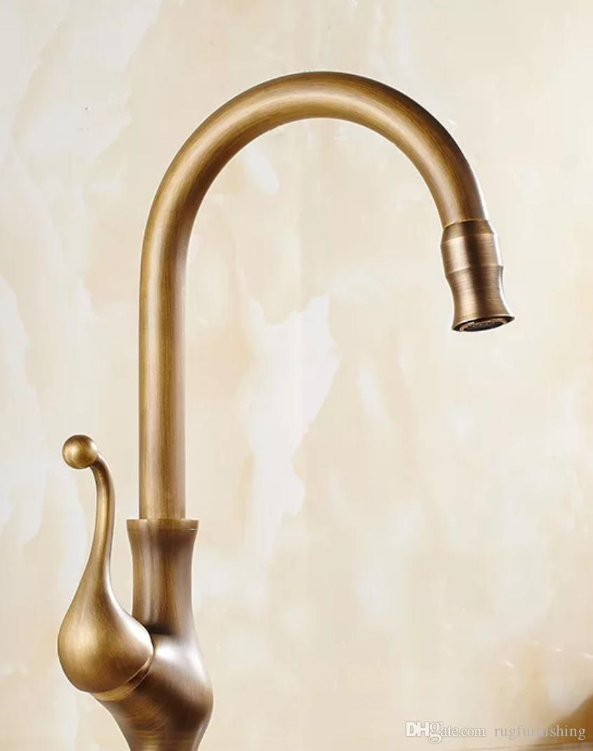 2018 2017 new designed deck mounted antique brass kitchen faucet with cold and hot water supply other faucets showers accs hs430 from rugfurnishing