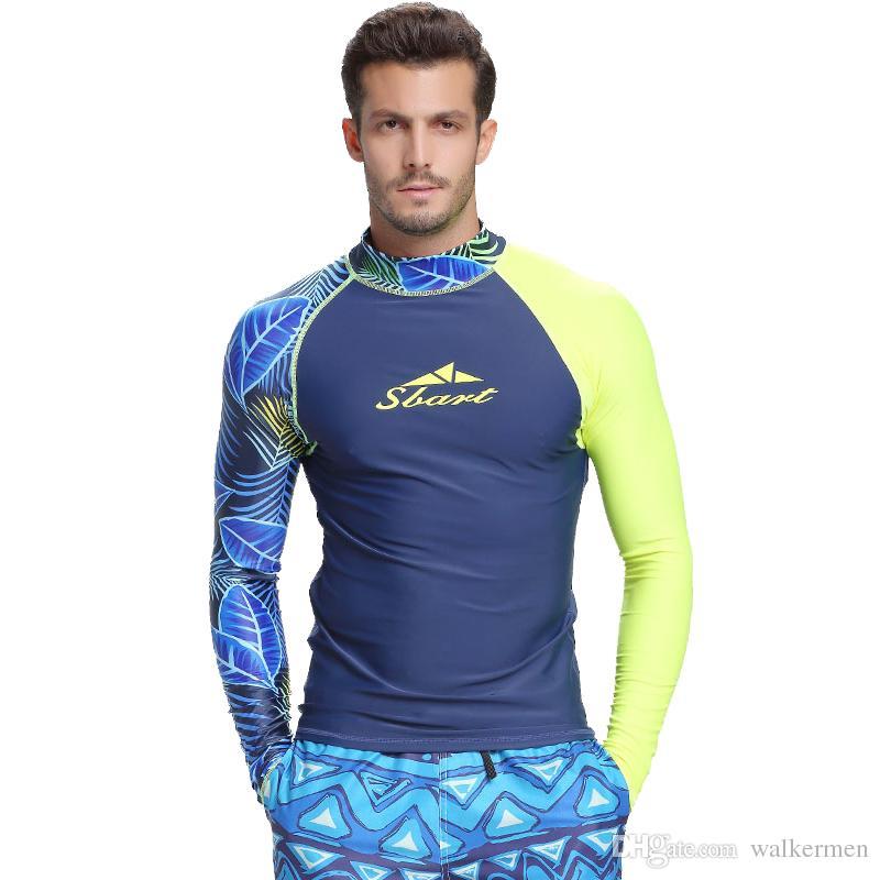 ce0adc213a0 Long Sleeve Swimwear Men Rashguard Snorkeling Surfing Diving Shirt ...