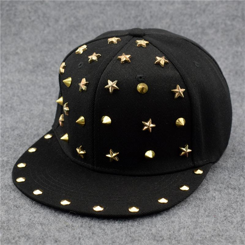 8c708570c78 New Fashion Punk Hip Hop Cap Silver Gold Rivet Stars Spiky Rock Baseball Cap  Stud Spike Snapback Hats For Men Women Make Your Own Hat Basecaps From  Fengyune ...