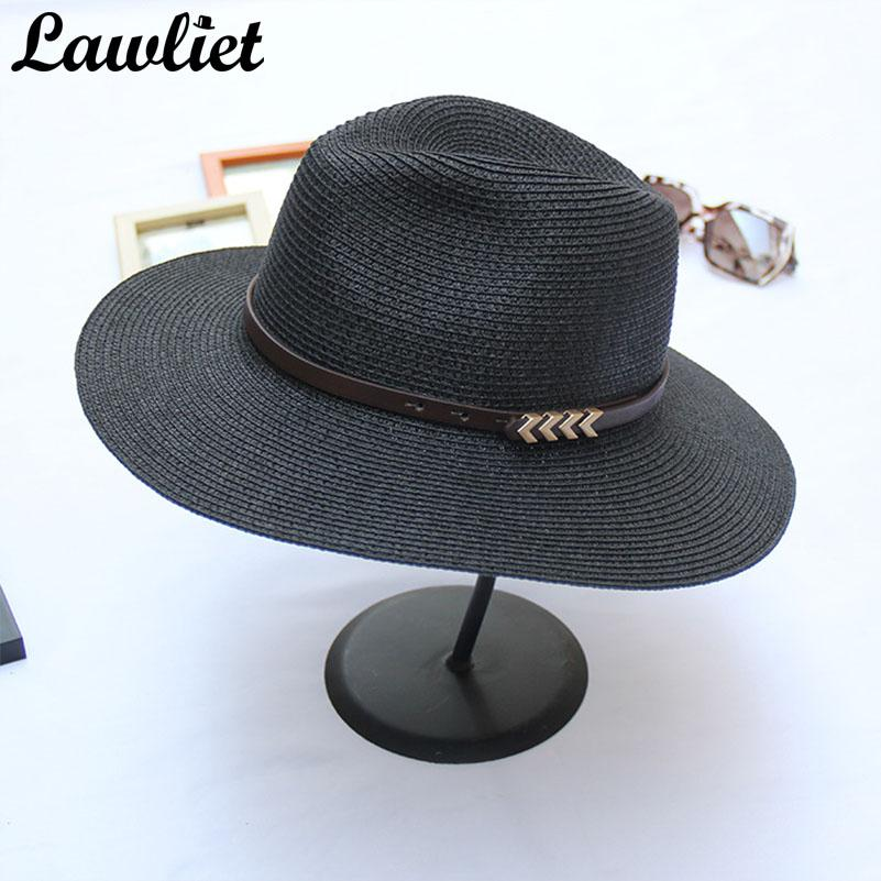 33d46d5230145 Panama Straw Hats Women Summer Fedoras Hats Belt Wide Brim Sun Chapeau  Feminino Floppy Beach Cap Elegant Street Jazz Cap Summer Hat Straw Cowboy  Hats From ...
