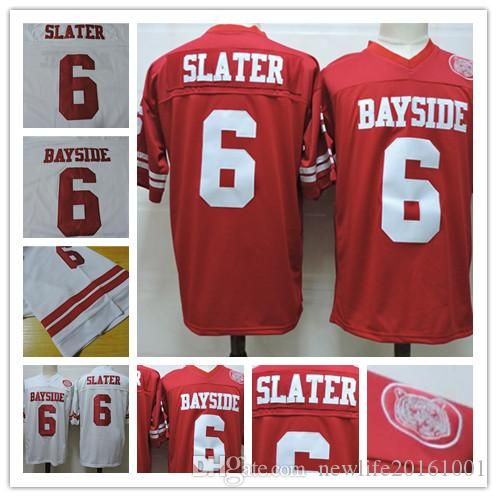 fb3ebf6c0a86 2019 Moive Saved By The Bell Bayside  6 AC Slater Mario Lopez Red White  Stitched The Film Football Jerseys Size S 3XL From Newlife20161001