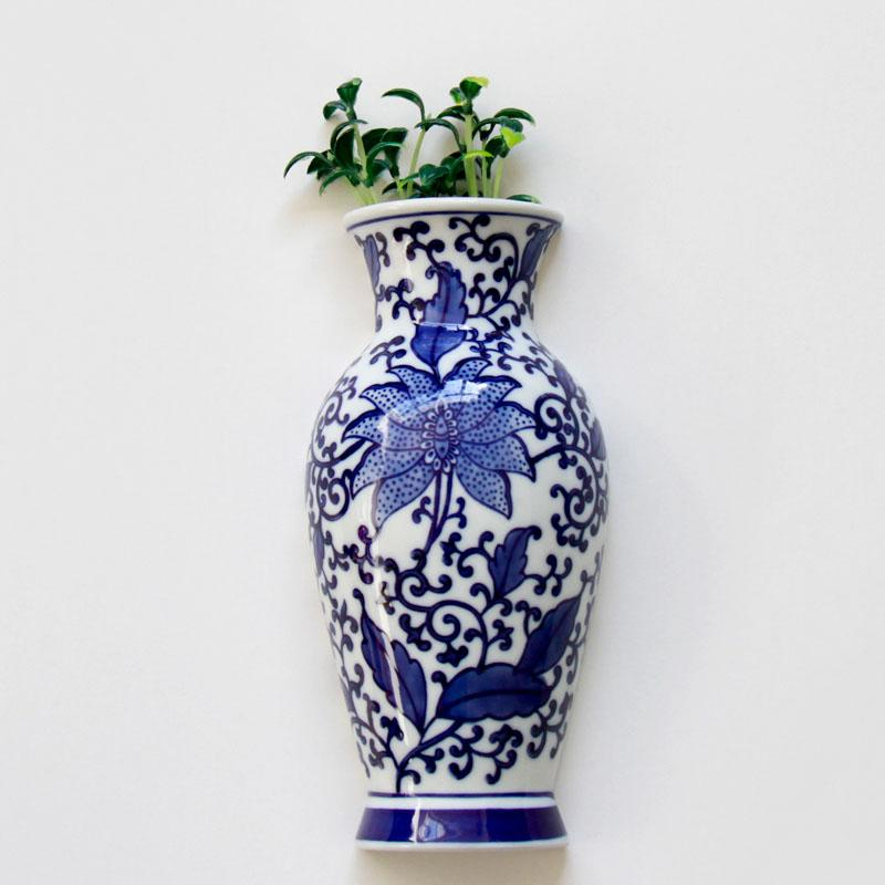 Metope Vase Ceramic Wall Hanging Flower Receptacle Blue And White