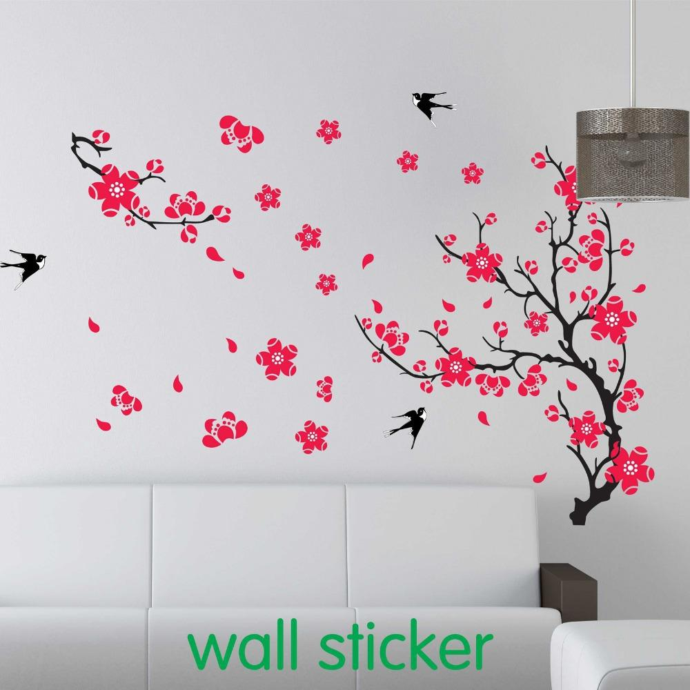 Large Swallow Plum Blossom Wall Sticker For Bed Room Decoration