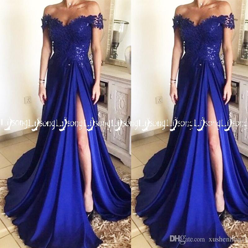 a957aa764 Vestido de fiesta azul real fuera del hombro que fluye vestido de fiesta  Pierna alta Split Lace Maxi Vestidos Partido de las mujeres vestido de  noche ...
