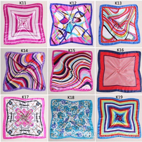 Vår och höst kvinnlig satin halsduk torget halsdukar tryckta 50 * 50cm