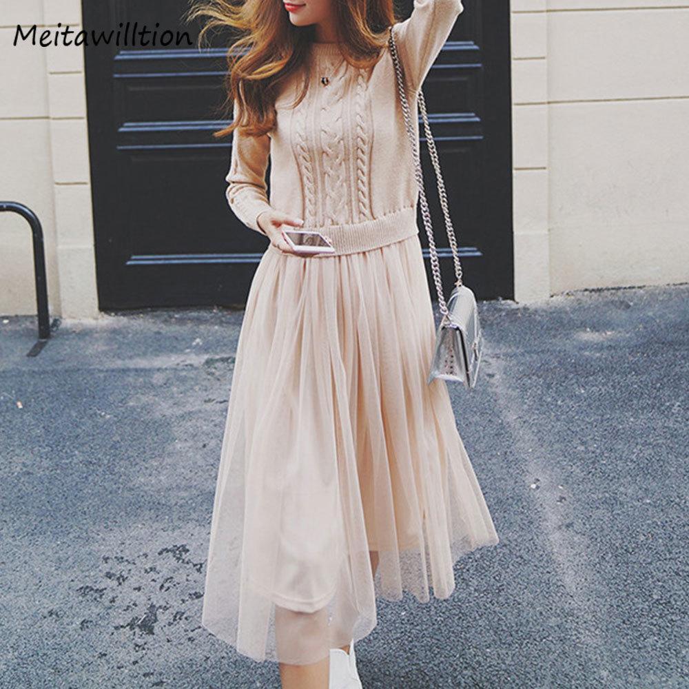 Acquista 2018 Coreano Autunno Inverno Dress Elegante Signore O Collo Manica  Lunga Maglia Midi Vestito Alta Maglia Elastica Donne Calde Vestito Y1891101  A ... fff1c9bdcab