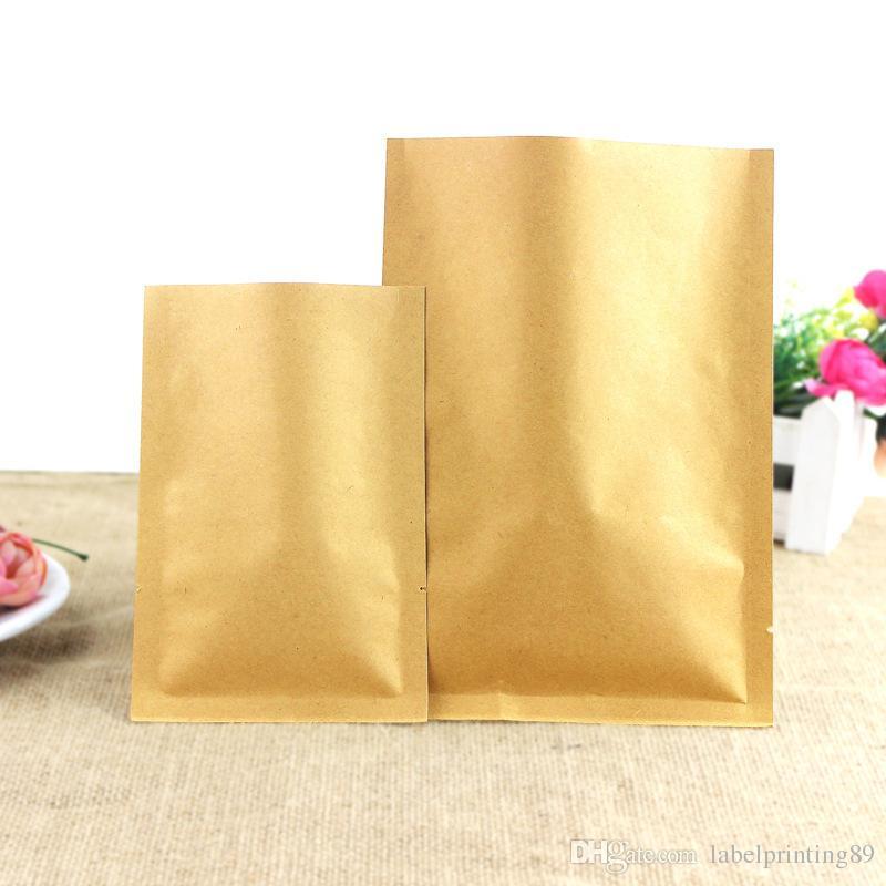 Haute qualité de papier Kraft Paquet Sacs intérieur en feuille d'aluminium / Thicken brun Couleur Kraft Pouches Open Top / Hot Heat Seal pack aliments, thé, café Sac
