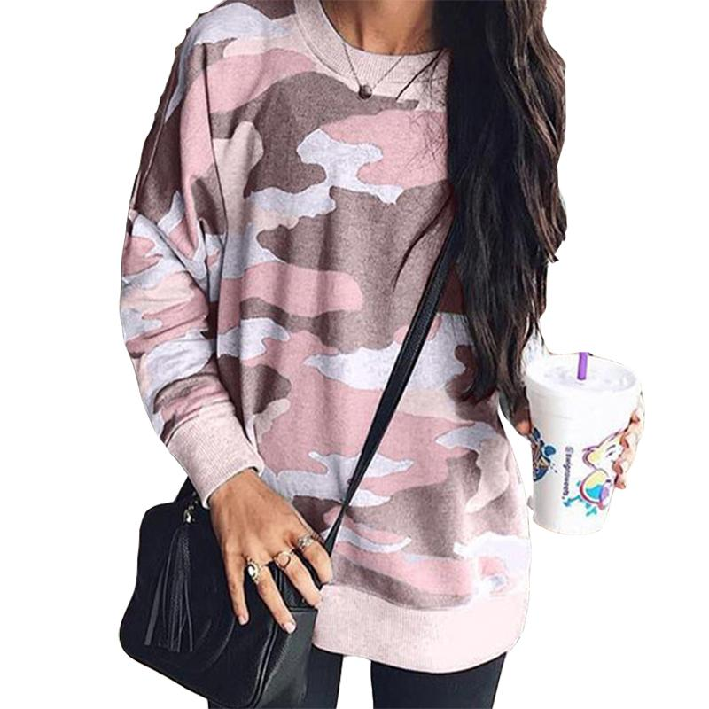 993bf760a5 Camouflage Tops Femme Sweatshirts Tracksuits Women Autumn Hoodies Full  Casual Winter Jumpers Coral Pink Pullovers Oversize M0151