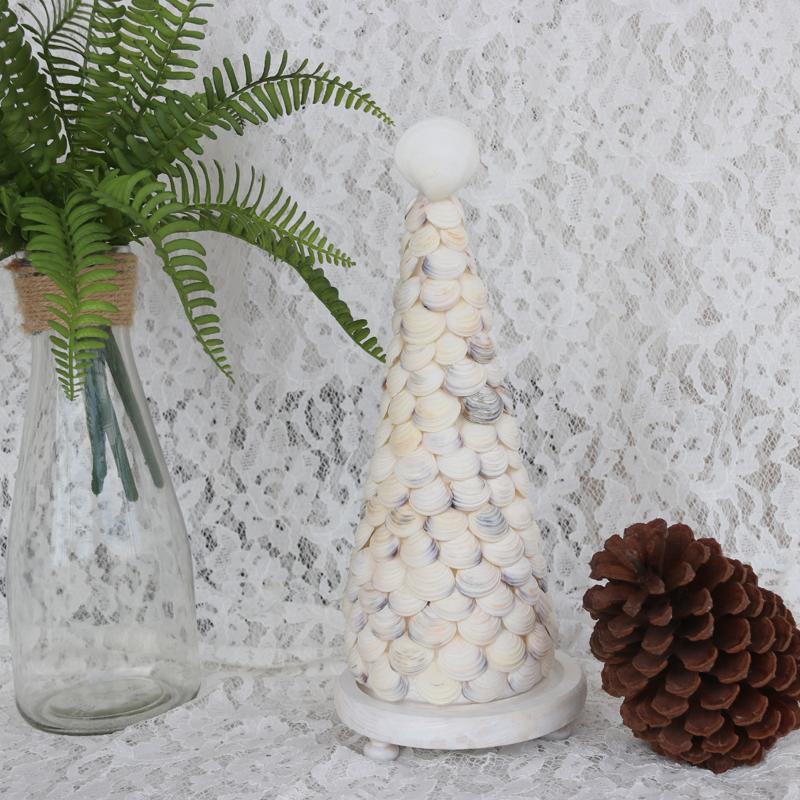 white stripes christmas tree natural shell conch beach wedding decor handmade coastal home decoration christmas window decorations christmas window