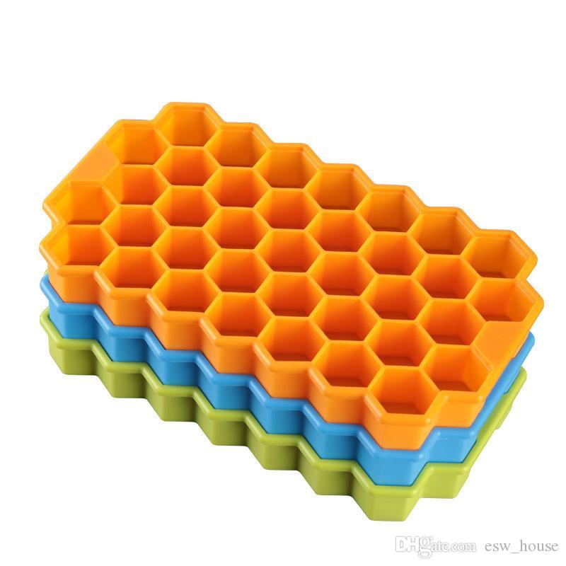 Multi-Estilo Favo De Mel De Silicone Bola De Gelo Cubo Bandeja Congelar Mould Ice Cube Bandeja Ice-making Box favo de mel Molde Para Bar Partido Ferramentas Cor Aleatória