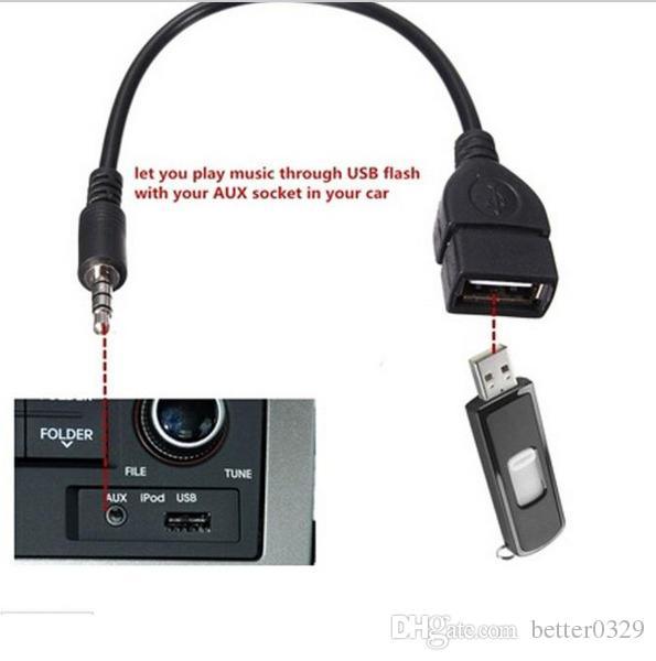 NUEVO conector AUX de audio de 3,5 mm a USB 2.0 Tipo A hembra Adaptador adaptador OTG