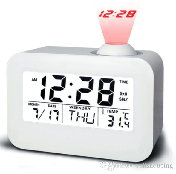 Voice-activated backlight voice time alarm clock projection clock Perpetual Calendar snooze LED clock