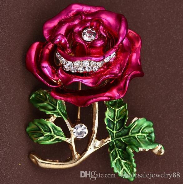 Grace Women Crystal Rhinestone Bouquet Corsage Brooch Colorful Enamel Flower Brooches Lapel Pins Wedding Jewelry 3.8*4.2cm