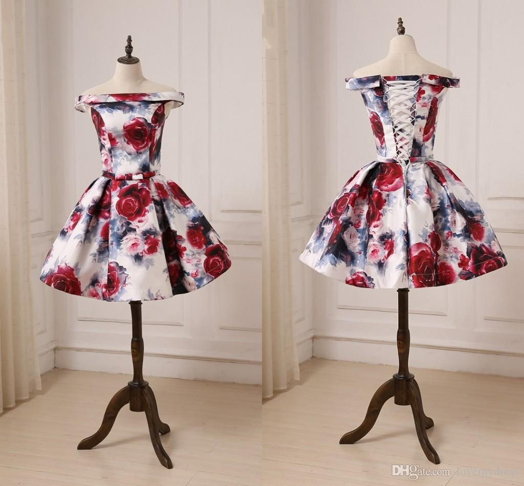 41f550a693f 2019 Chic 3D Floral Flowers Homecoming Ball Gown Prom Dresses Short Cheap  Off Shoulder Corset Back Ribbon Bows Evening Cocktail Dress Gowns Sexy  Homecoming ...