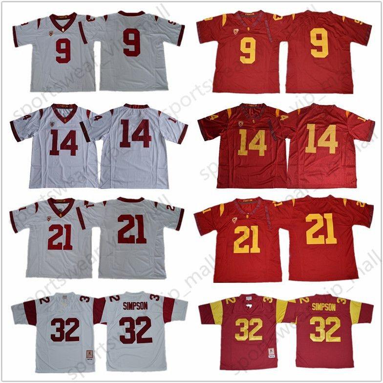 purchase cheap 59b0d fa09c NCAA USC Trojans Jersey #9 JuJu Smith-Schuster 32 O.J Simpson #14 Sam  Darnold 43 Troy Polamalu 55 Junior Seau College Football Jerseys