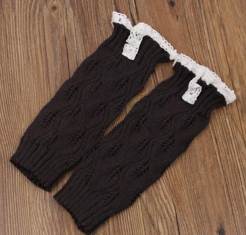 Girls Lace Crochet Boot Cuffs Christmas Leg Warmers Knit Covers Ballet Xmas Knee High Socks