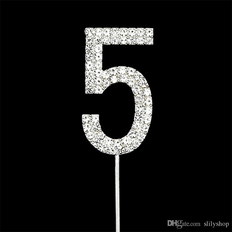 New Crystals Sparkling Rhinestone Birthday Wedding Anniversary Numbers Cake Topper For Birthday Paty