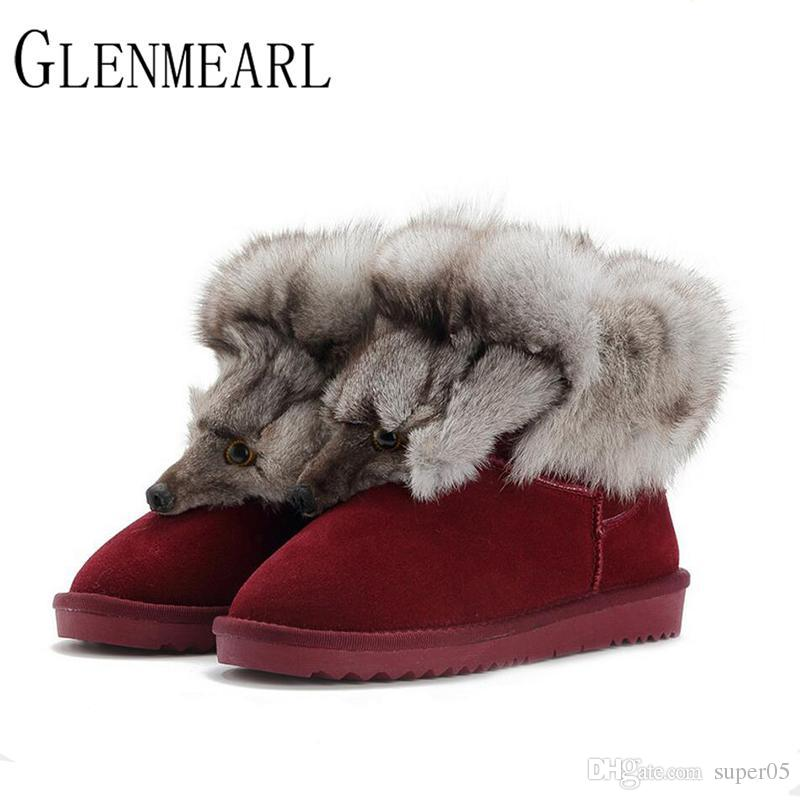 6654c3a335c 2018 New Fashion Fox Fur Womens Flats Boots Snow Thick Bottom Plus ...
